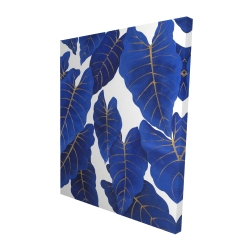 Canvas 48 x 60 - 3D - Tropical abstract blue leaves