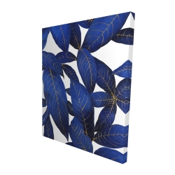 Canvas 48 x 60 - 3D - Abstract modern blue leaves