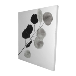 Canvas 48 x 60 - 3D - Grayscale branch with round shape leaves