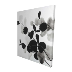 Canvas 48 x 60 - 3D - Grayscale branches with leaves