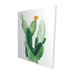 Canvas 48 x 60 - 3D - Watercolor paddle cactus with flower