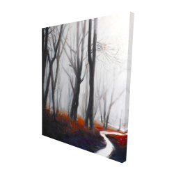 Canvas 48 x 60 - 3D - Mysterious forest with stream