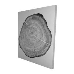 Canvas 48 x 60 - 3D - Grayscale wood log