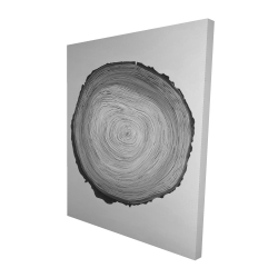 Canvas 48 x 60 - 3D - Grayscale round wood log