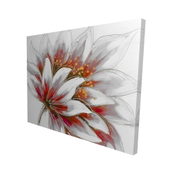 Canvas 48 x 60 - 3D - Red flower with gold center