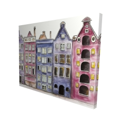 Canvas 48 x 60 - 3D - Old historic houses amsterdam