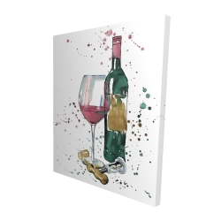 Canvas 48 x 60 - 3D - Bottle of red wine