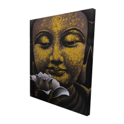Canvas 48 x 60 - 3D - The eternal smile of buddha and his lotus