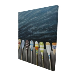 Canvas 48 x 60 - 3D - Colorful paddles on the dock