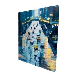 Canvas 48 x 60 - 3D - Rainy streets of new york
