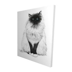 Canvas 48 x 60 - 3D - Blue eyes fluffy siamese cat