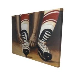 Canvas 48 x 60 - 3D - Hockey player ties his skates