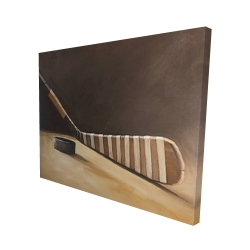 Canvas 48 x 60 - 3D - Stick and hockey puck