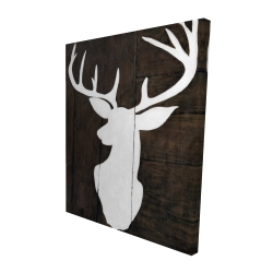 Canvas 48 x 60 - 3D - Silhouette of a deer on wood
