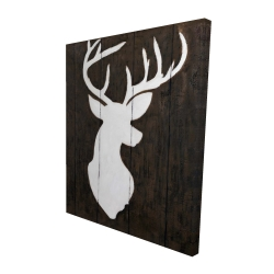 Canvas 48 x 60 - 3D - White silhouette of a deer on wood