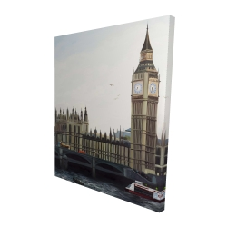 Canvas 48 x 60 - 3D - Big ben clock elizabeth tower in london