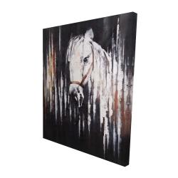 Canvas 48 x 60 - 3D - White horse in the dark