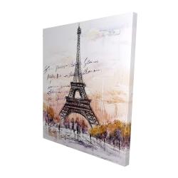 Canvas 48 x 60 - 3D - Eiffel tower sketch with an handwritten message