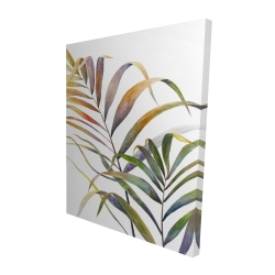 Canvas 48 x 60 - 3D - Watercolor tropical palm leaves