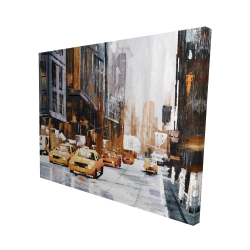 Canvas 48 x 60 - 3D - Big city street with yellow taxi