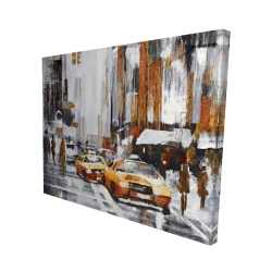 Canvas 48 x 60 - 3D - Abstract citystreet with yellow taxis