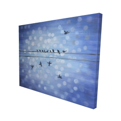 Canvas 48 x 60 - 3D - Birds on a wire with a clear blue sky
