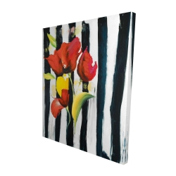 Canvas 48 x 60 - 3D - Red flowers on stripes