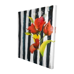 Canvas 48 x 60 - 3D - Flowers on black and white stripes