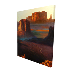 Canvas 48 x 60 - 3D - Monument valley tribal park in arizona