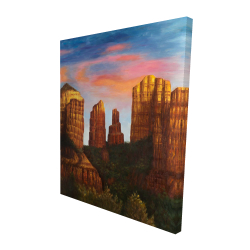 Canvas 48 x 60 - 3D - Cathedral rock in arizona