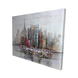 Canvas 48 x 60 - 3D - Cityscape with typography in relief
