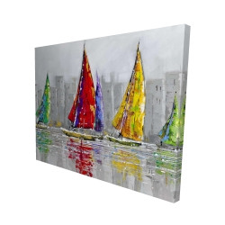 Canvas 48 x 60 - 3D - Sailboats in the wind