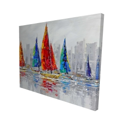 Canvas 48 x 60 - 3D - Colorful boats near a gray city