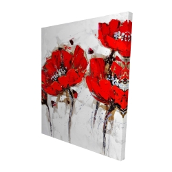 Canvas 48 x 60 - 3D - Red poppies with texture