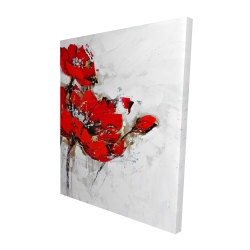 Canvas 48 x 60 - 3D - Abstract red flowers with texture