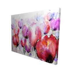 Canvas 48 x 60 - 3D - Pink tulips field