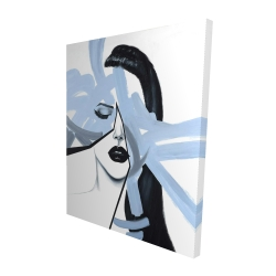Canvas 48 x 60 - 3D - Abstract blue woman portrait