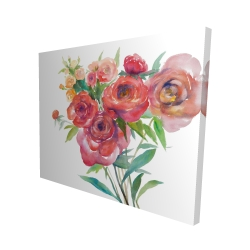 Canvas 48 x 60 - 3D - Watercolor bouquet of flowers