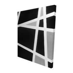 Canvas 48 x 60 - 3D - Black and white abstract lines