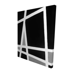 Canvas 48 x 60 - 3D - Black and white abstract shapes