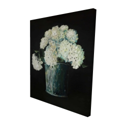 Canvas 48 x 60 - 3D - White hydrangea flowers