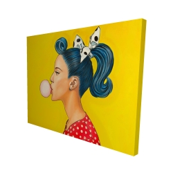 Canvas 48 x 60 - 3D - Retro woman with beautiful ponytail