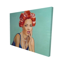 Canvas 48 x 60 - 3D - Pin up girl with curlers