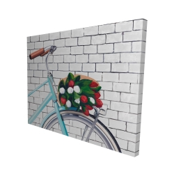 Canvas 48 x 60 - 3D - Bicycle with a bouquet of tulips
