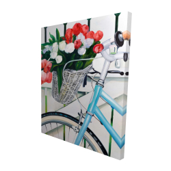 Canvas 48 x 60 - 3D - Bicycle with tulips flowers in basket