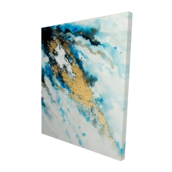 Canvas 48 x 60 - 3D - Blue and gold marble