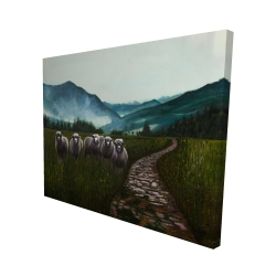 Canvas 48 x 60 - 3D - Sheep in the countryside