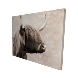 Canvas 48 x 60 - 3D - Beautiful highland cattle sepia