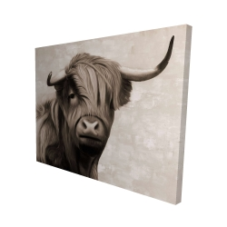 Canvas 48 x 60 - 3D - Highland cattle sepia