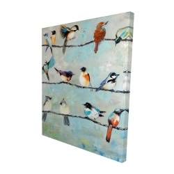 Canvas 48 x 60 - 3D - Small colorful birds